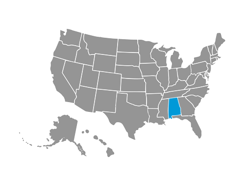 Spectrum Alabama State Highlighted in USA Map