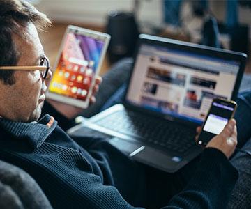 man watching phone