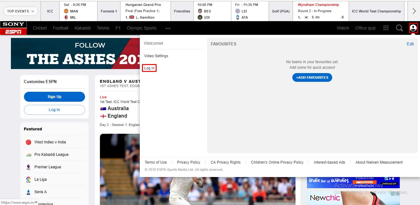ESPN Signing up Via a Computer